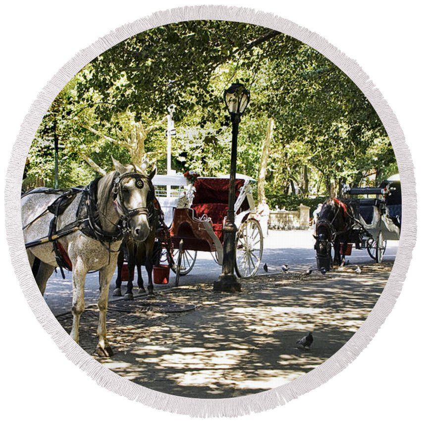 Horses Round Beach Towel featuring the photograph Rest Stop - Central Park by Madeline Ellis