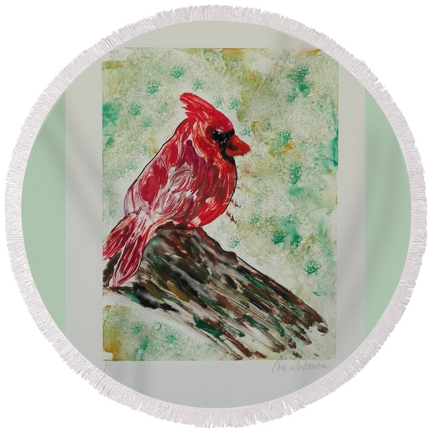 Bird Round Beach Towel featuring the mixed media Rest Stop by Cori Solomon