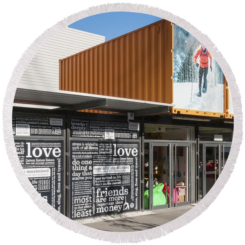 Christchurch New Zealand Earthquake Restart Container Store Stores Shop Shops Containers Structure Structures Architecture City Cities Cityscape Cityscapes Round Beach Towel featuring the photograph Restart Container Stores by Bob Phillips