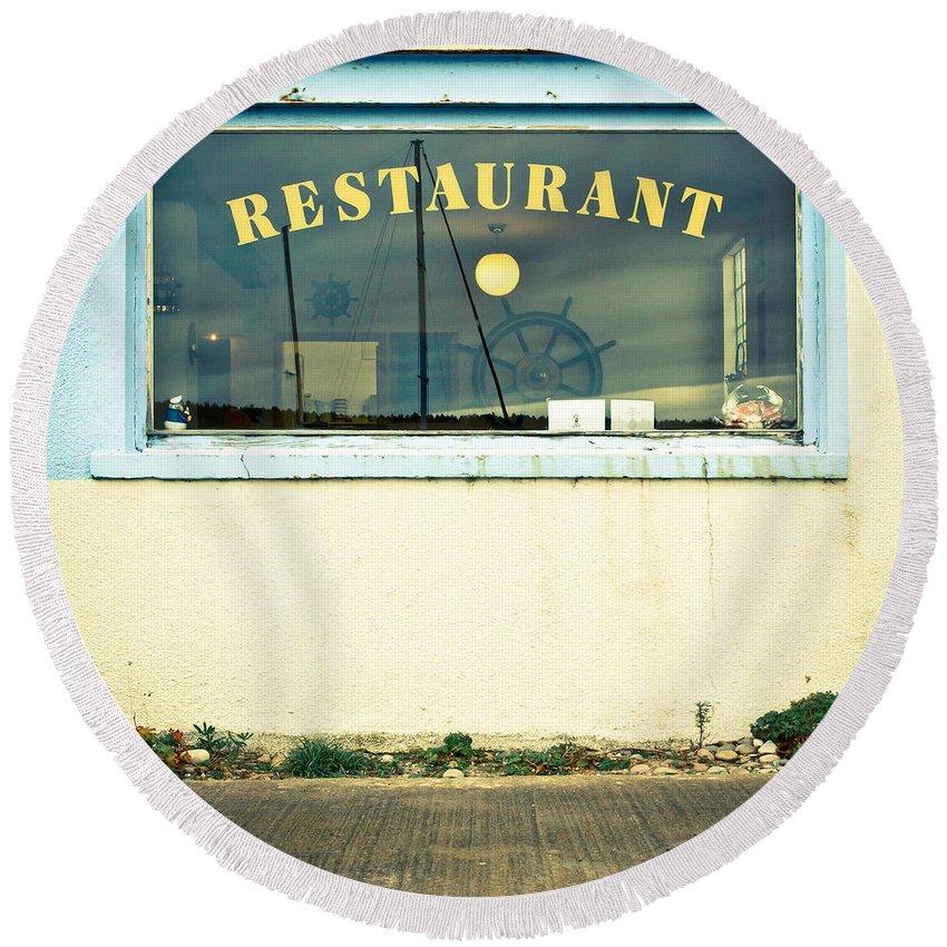Blue Round Beach Towel featuring the photograph Restaurant Window by Tom Gowanlock