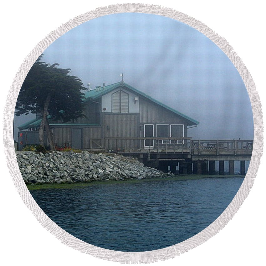 Scenic Round Beach Towel featuring the photograph Restaurant With A Foggy View by AJ Schibig