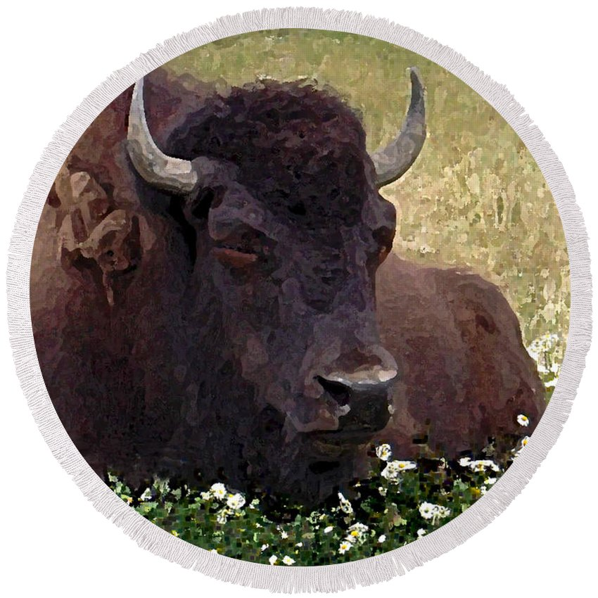Buffalo Round Beach Towel featuring the painting Resting Bison by Michele Avanti