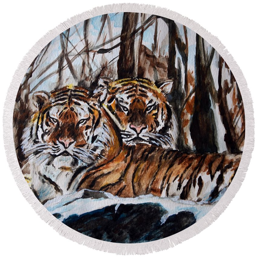 Tiger Round Beach Towel featuring the painting Resting by Harsh Malik