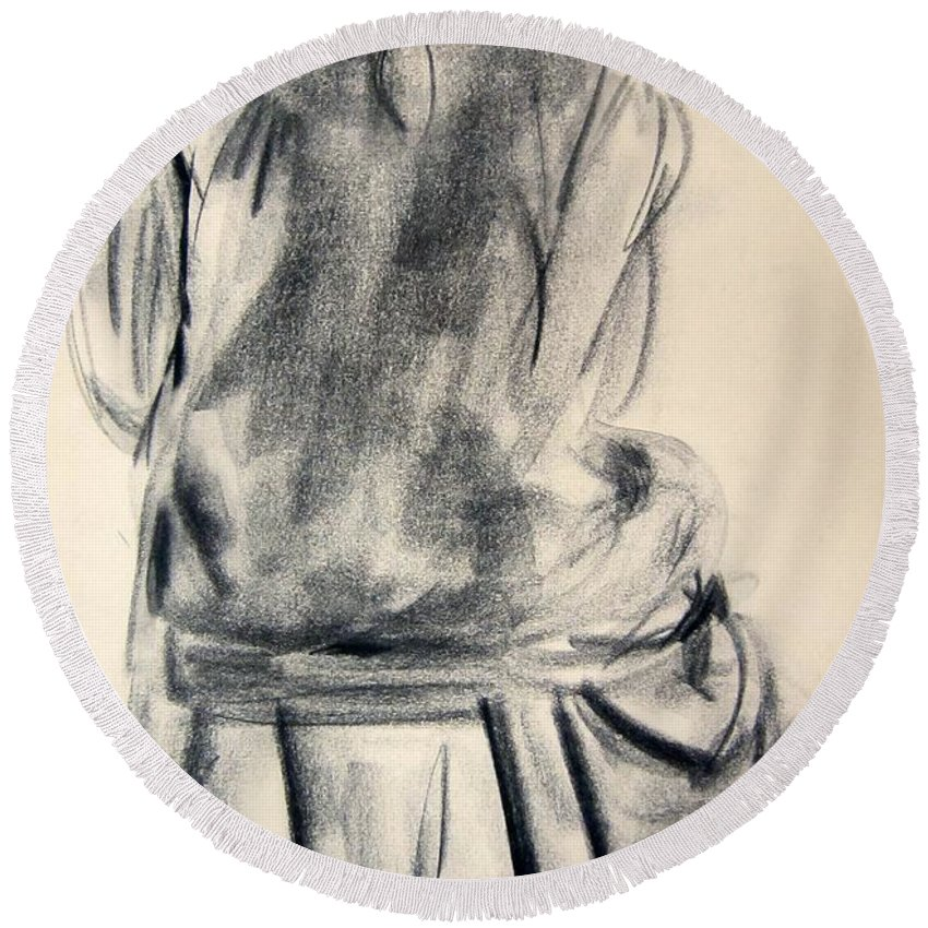 Nude Round Beach Towel featuring the photograph Resting In The Studio by Kendall Kessler