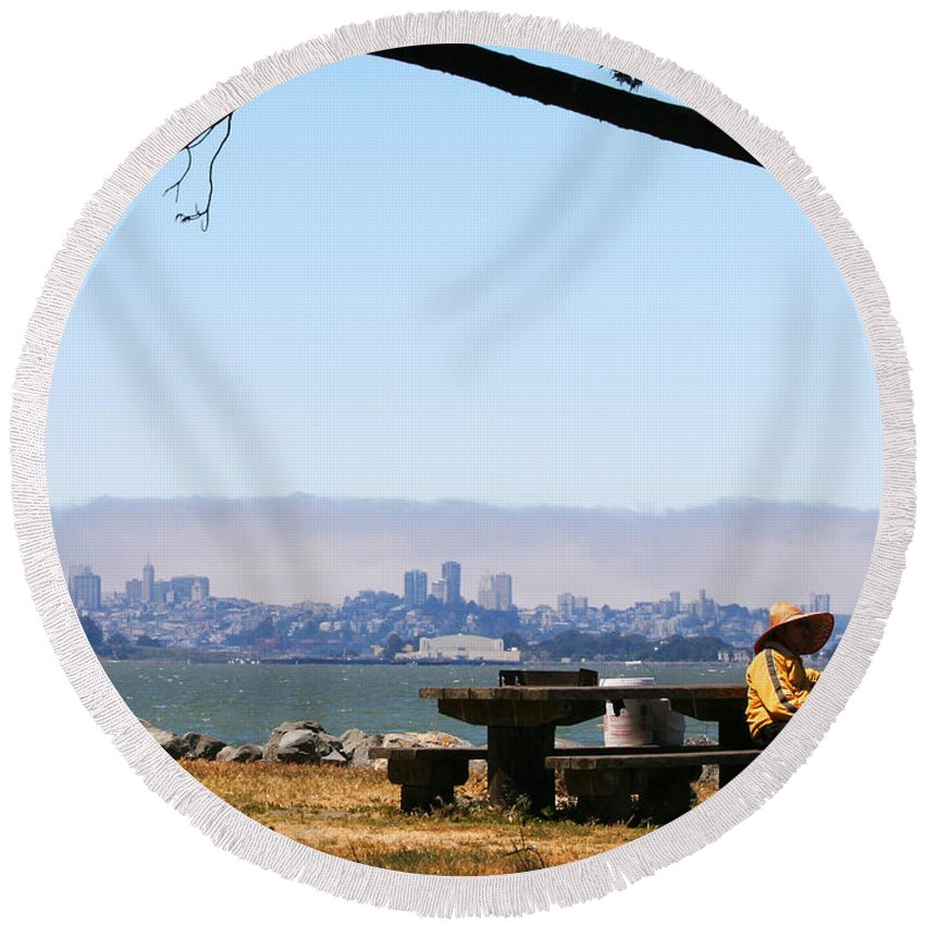 Emeryville Round Beach Towel featuring the photograph Resting On The Emeryville Penninsula by Robert Woodward