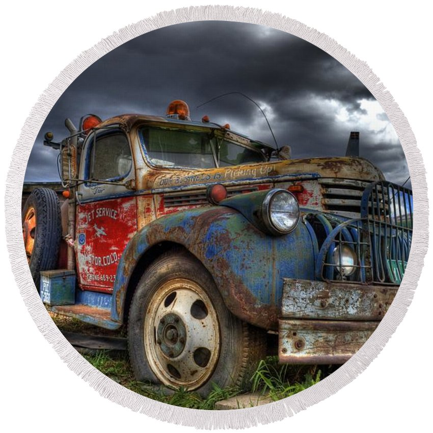Chevrolet Round Beach Towel featuring the photograph Retired by Tony Baca