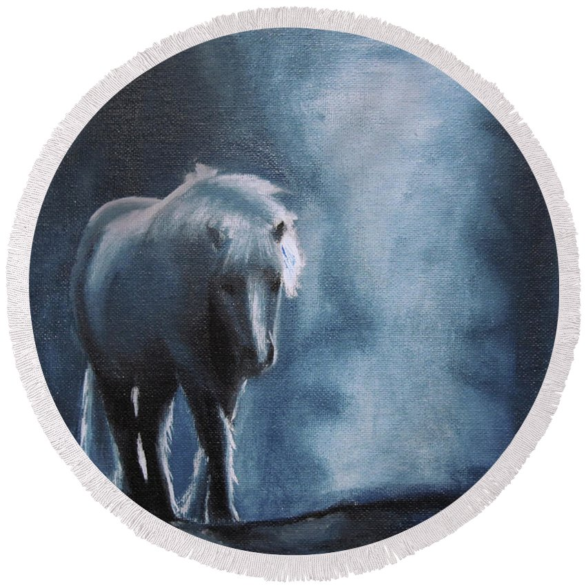 Horse Round Beach Towel featuring the painting Retirement Strolls by Kayleigh Semeniuk