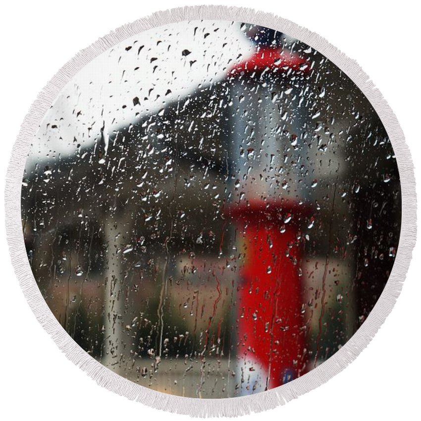 Rain Round Beach Towel featuring the photograph Retro Gas Pump On A Rainy Day by Jannice Walker