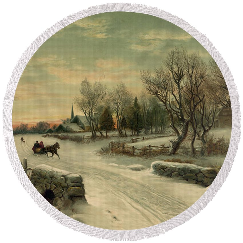 Christmas Round Beach Towel featuring the photograph Retro Vintage Rural Winter Scene by John Stephens