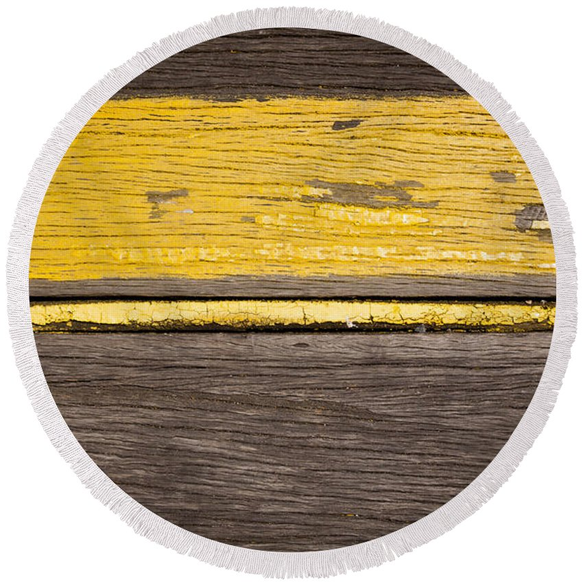 Wood Round Beach Towel featuring the photograph Retro Wood Stripe by Tim Hester