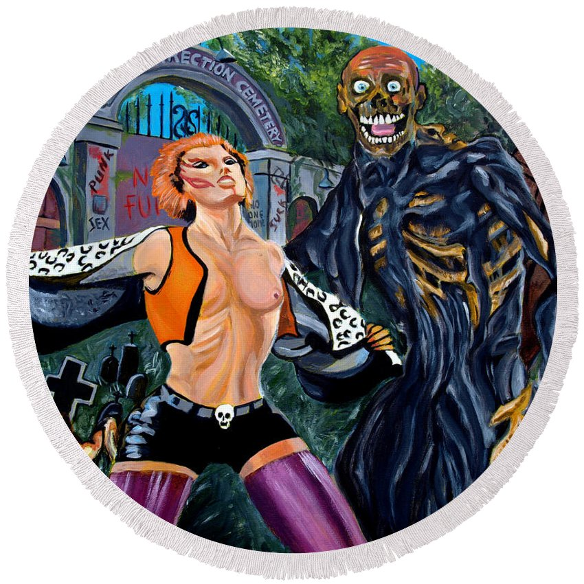 Return Of The Living Dead Round Beach Towel featuring the painting Return Of The Living Dead by Jose Mendez