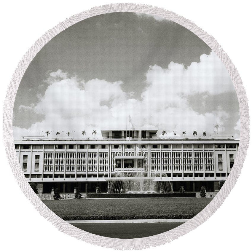 Asia Round Beach Towel featuring the photograph Reunification Palace Saigon by Shaun Higson