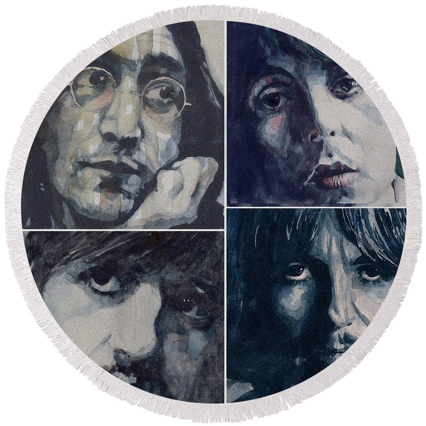 The Beatles Round Beach Towel featuring the painting Reunion by Paul Lovering