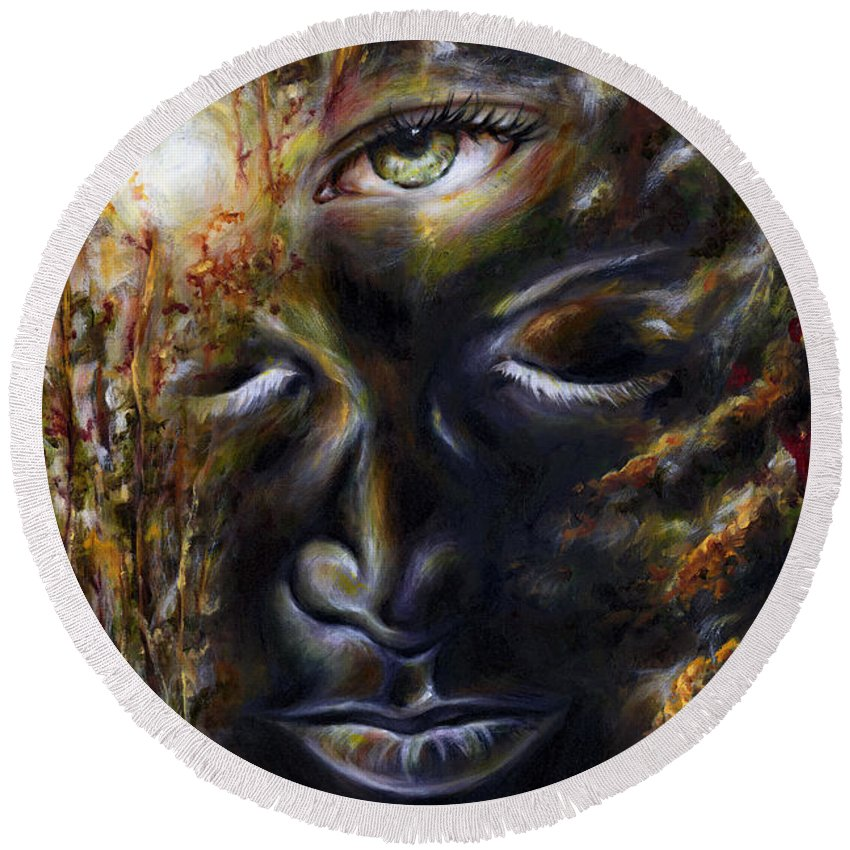 Eye Round Beach Towel featuring the painting Revelation by Hiroko Sakai