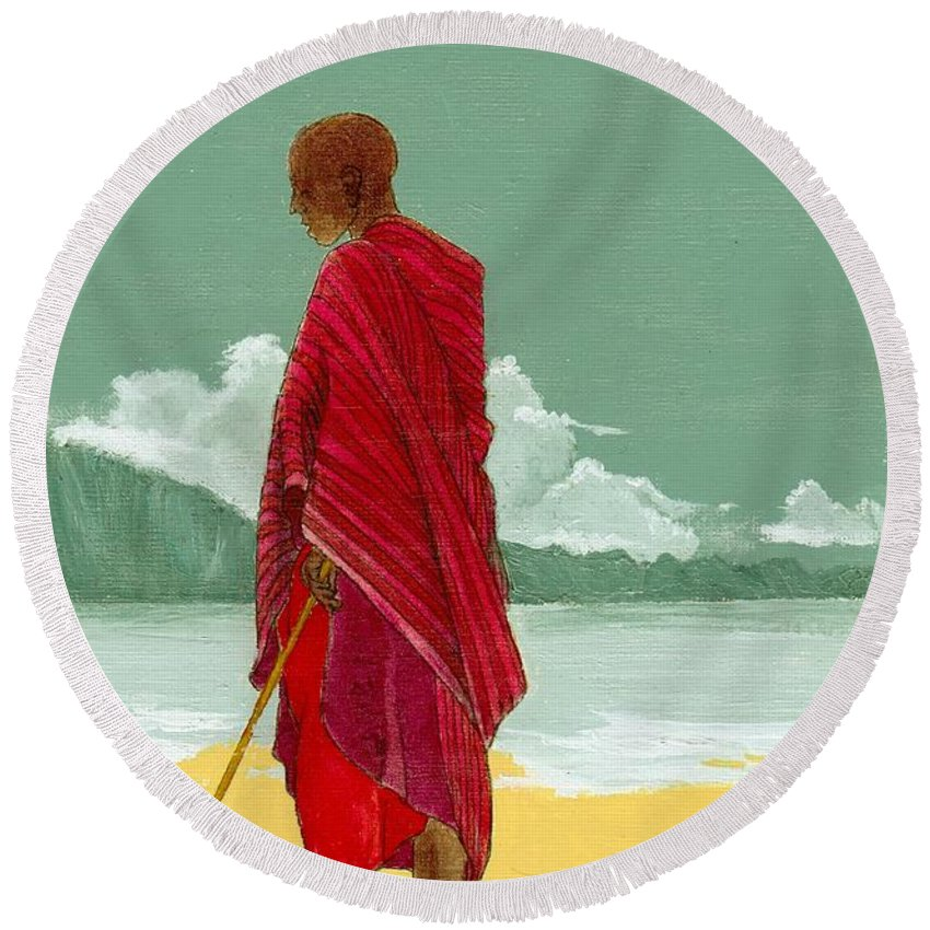 Figurative Painting Round Beach Towel featuring the painting Reverence by Edith Peterson