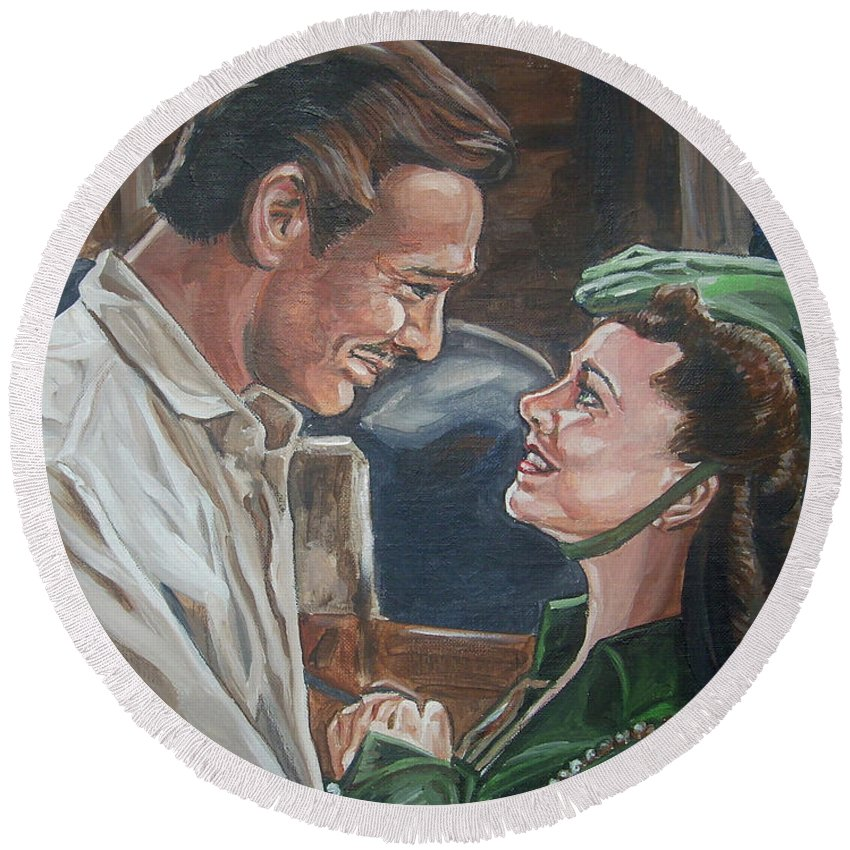 Gone With The Wind Round Beach Towel featuring the painting Rhett And Scarlett by Bryan Bustard