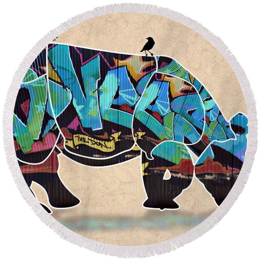 Rhino Round Beach Towel featuring the digital art Rhino 2 by Mark Ashkenazi