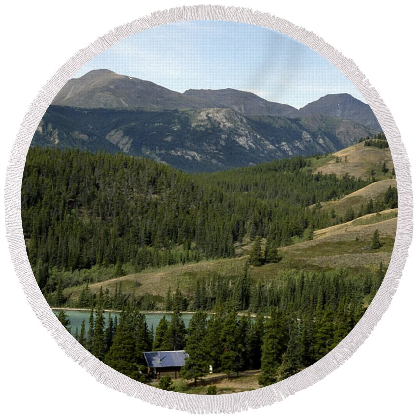 Alberta Round Beach Towel featuring the photograph Ribbon Creek Rec Area by Roderick Bley