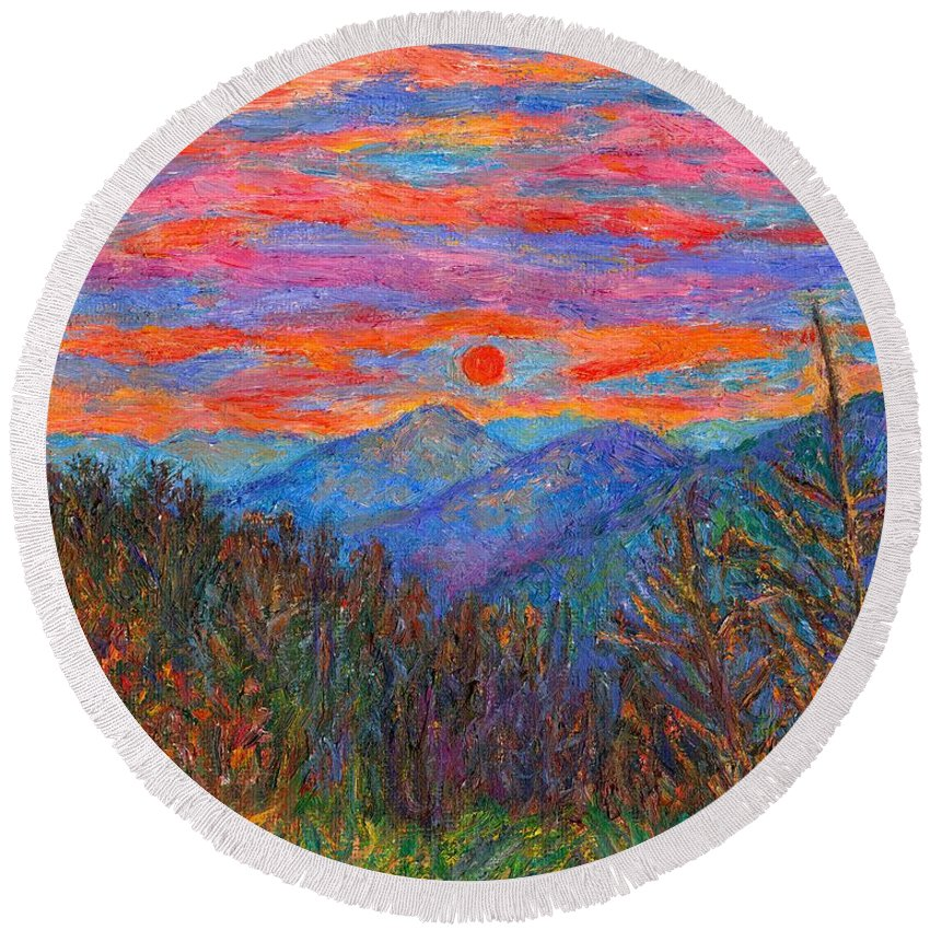 Ridgeland Round Beach Towel featuring the painting Ridgeland Winter Beauty by Kendall Kessler