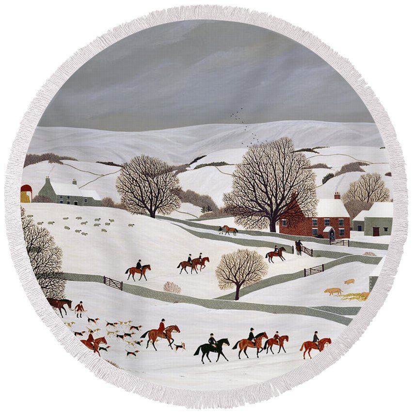 Hounds Round Beach Towel featuring the painting Riding In The Snow by Vincent Haddelsey