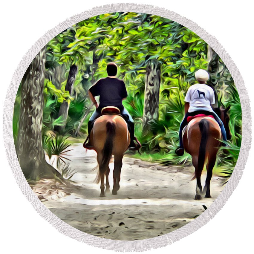 Horses Riders Ladies Women Road Florida Round Beach Towel featuring the photograph Riding In The Woods by Alice Gipson