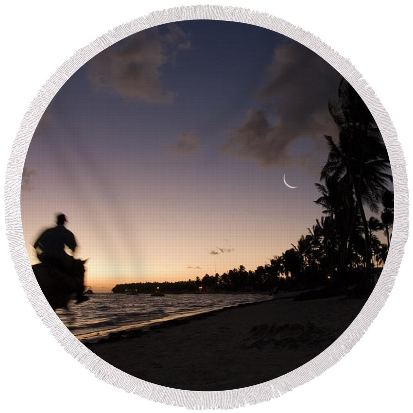 3scape Round Beach Towel featuring the photograph Riding On The Beach by Adam Romanowicz