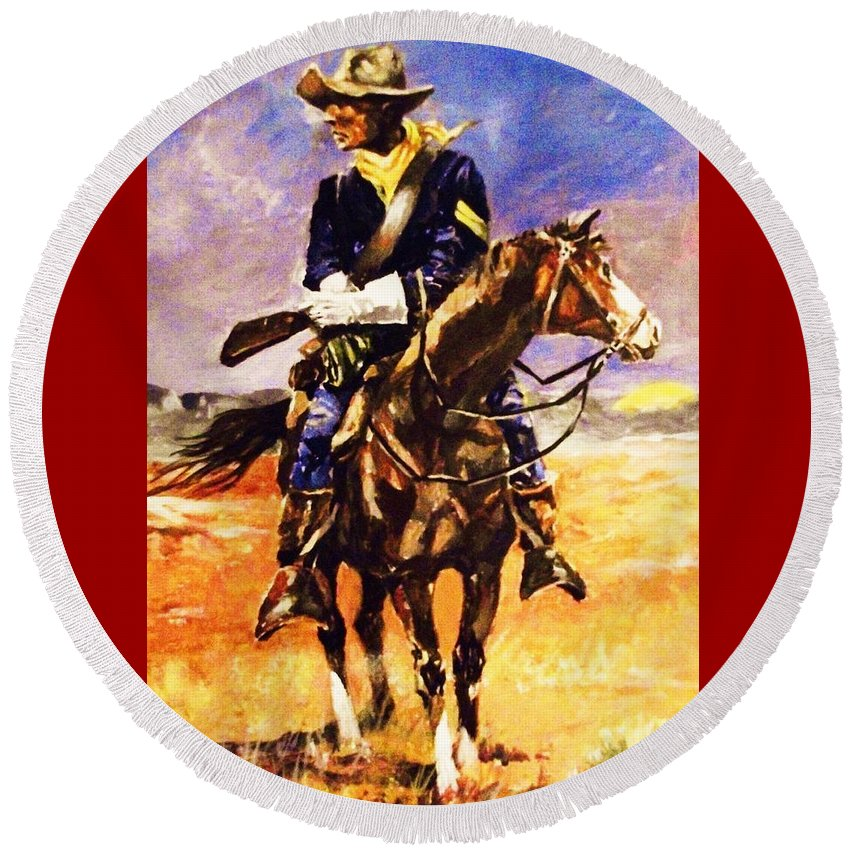 Westerns.cavalry Troopers Round Beach Towel featuring the painting Riding Point by Al Brown