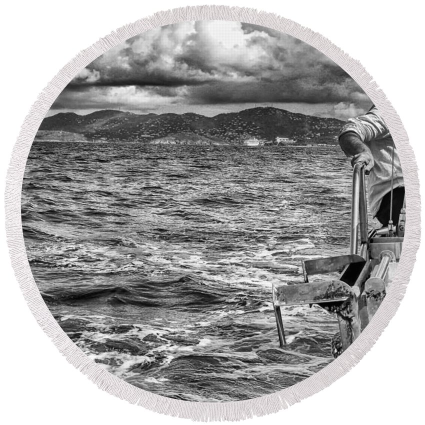Seascape Photography Round Beach Towel featuring the photograph Riding The Crest Of The Wave by Howard Salmon