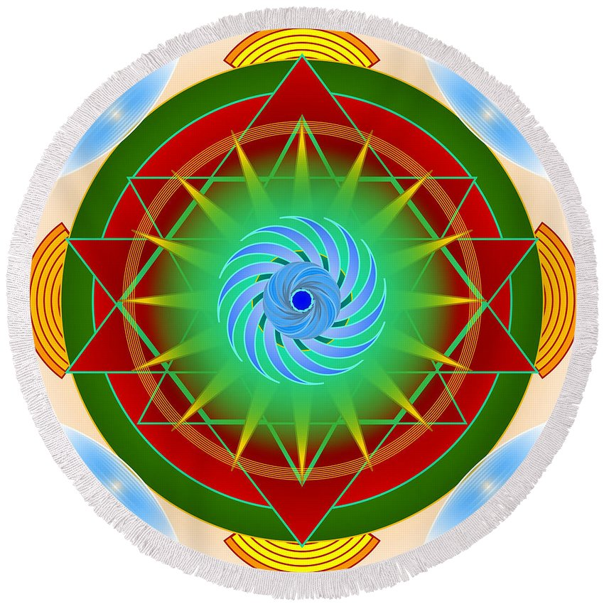 Mandala Round Beach Towel featuring the digital art Right On Time For Christmas by Mario Carini