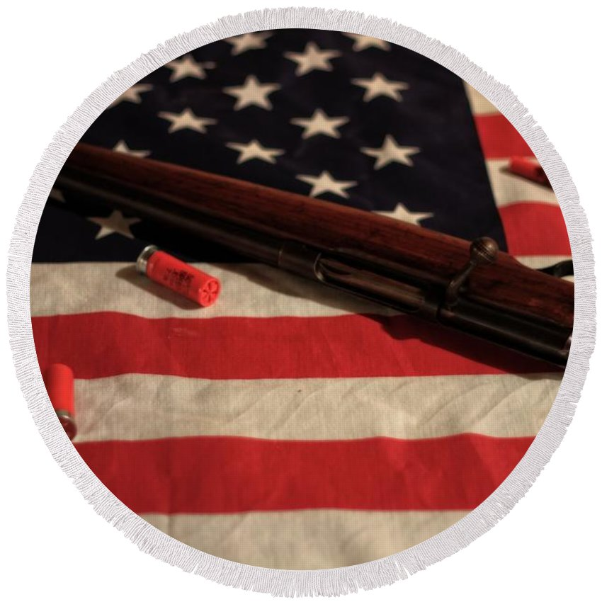 Right To Bear Arms Round Beach Towel featuring the photograph Right To Bear Arms by Dan Sproul