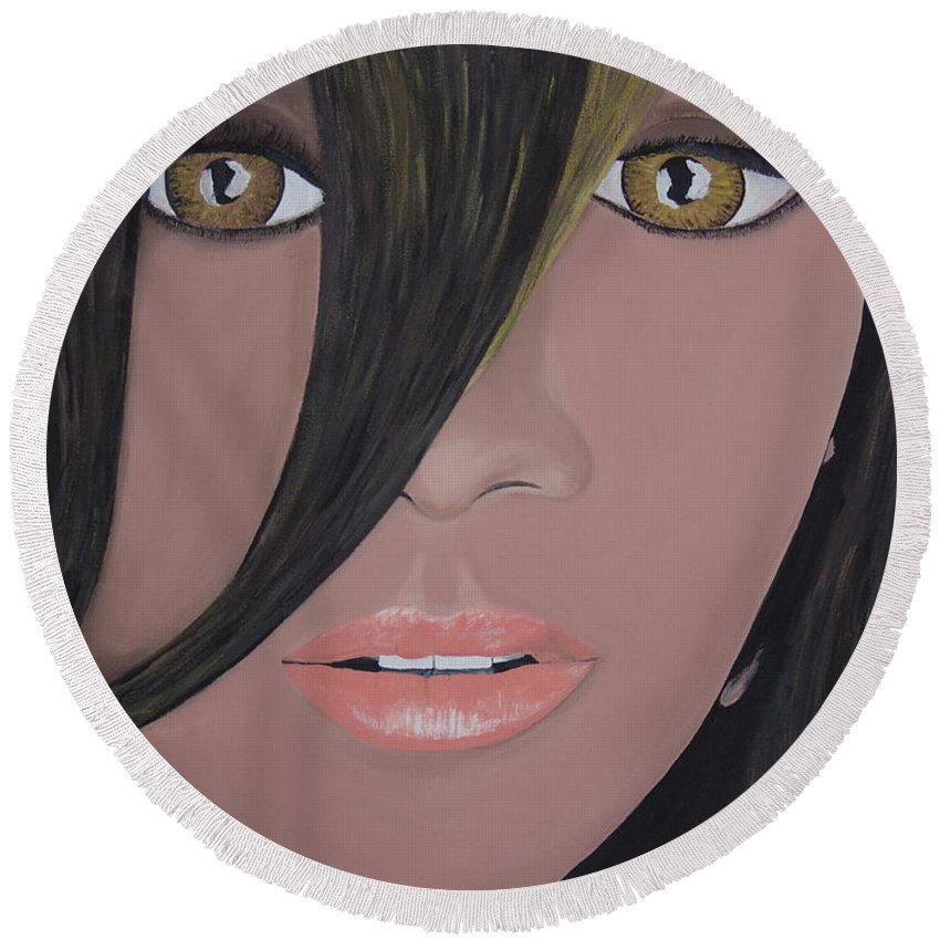 Acrylic Painting Round Beach Towel featuring the painting Rihanna by Dean Stephens