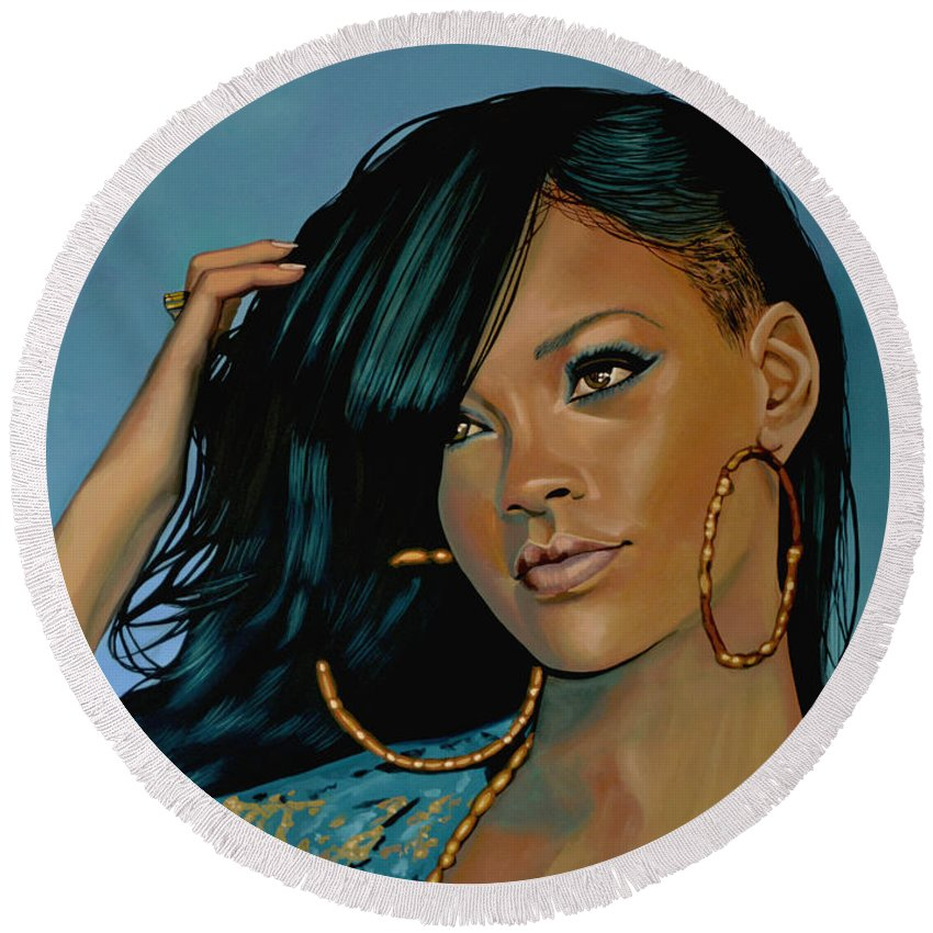 Rihanna Round Beach Towel featuring the painting Rihanna Painting by Paul Meijering