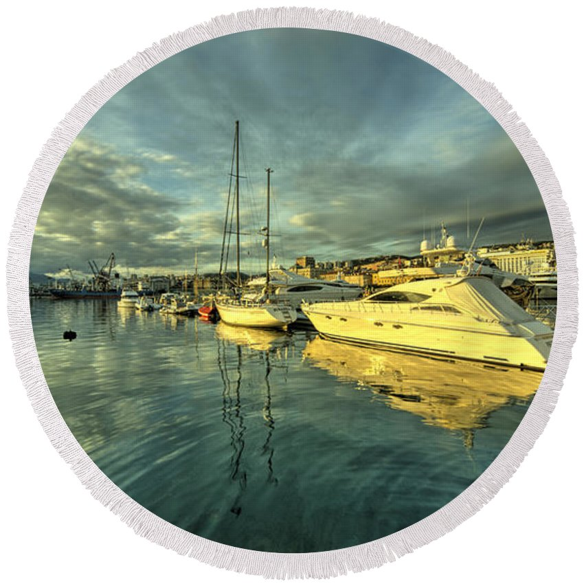 Rijeka Round Beach Towel featuring the photograph Rijekan Reflections by Rob Hawkins