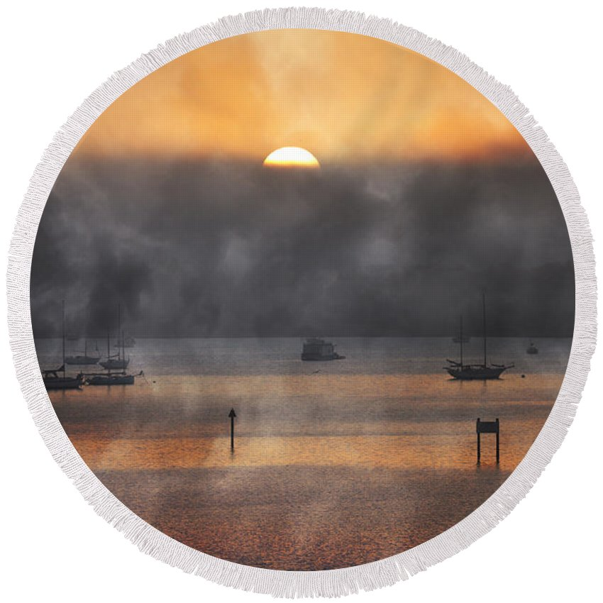 Ringling Round Beach Towel featuring the photograph Ringling Misty Morning by Betsy Knapp