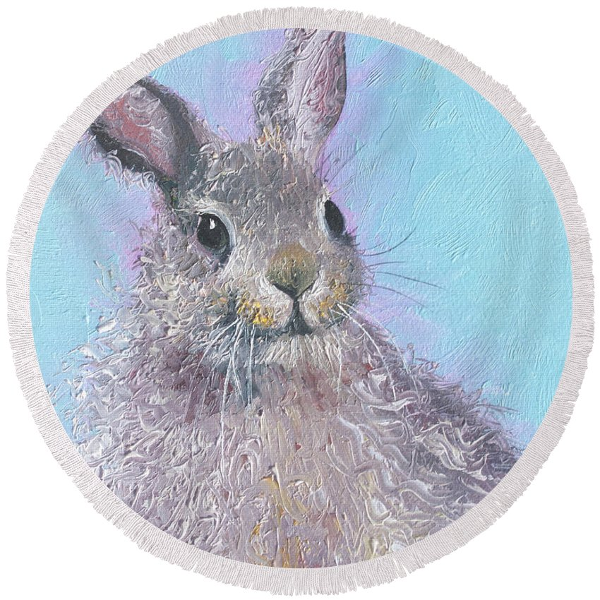 Bunny Round Beach Towel featuring the painting Easter Bunny Painting - Ringo by Jan Matson