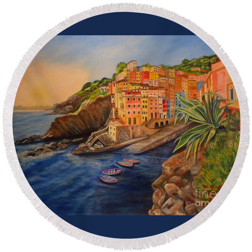 Italy Round Beach Towel featuring the painting Riomaggiore Amore by Julie Brugh Riffey