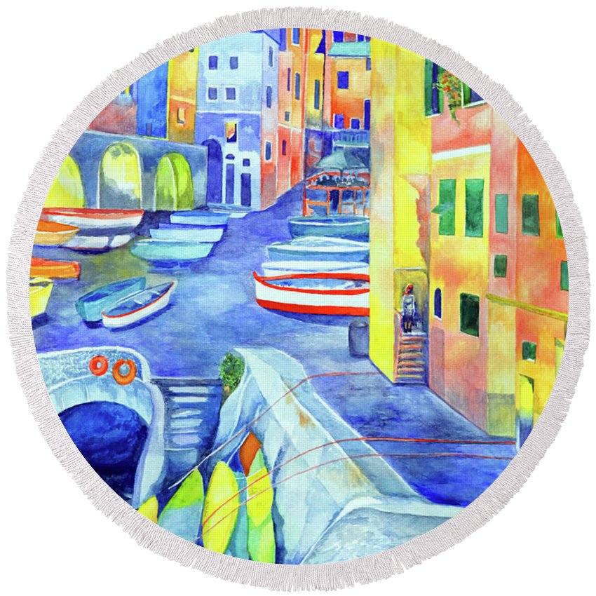 Cinque Terre Round Beach Towel featuring the painting Riomaggiore by Kandy Cross