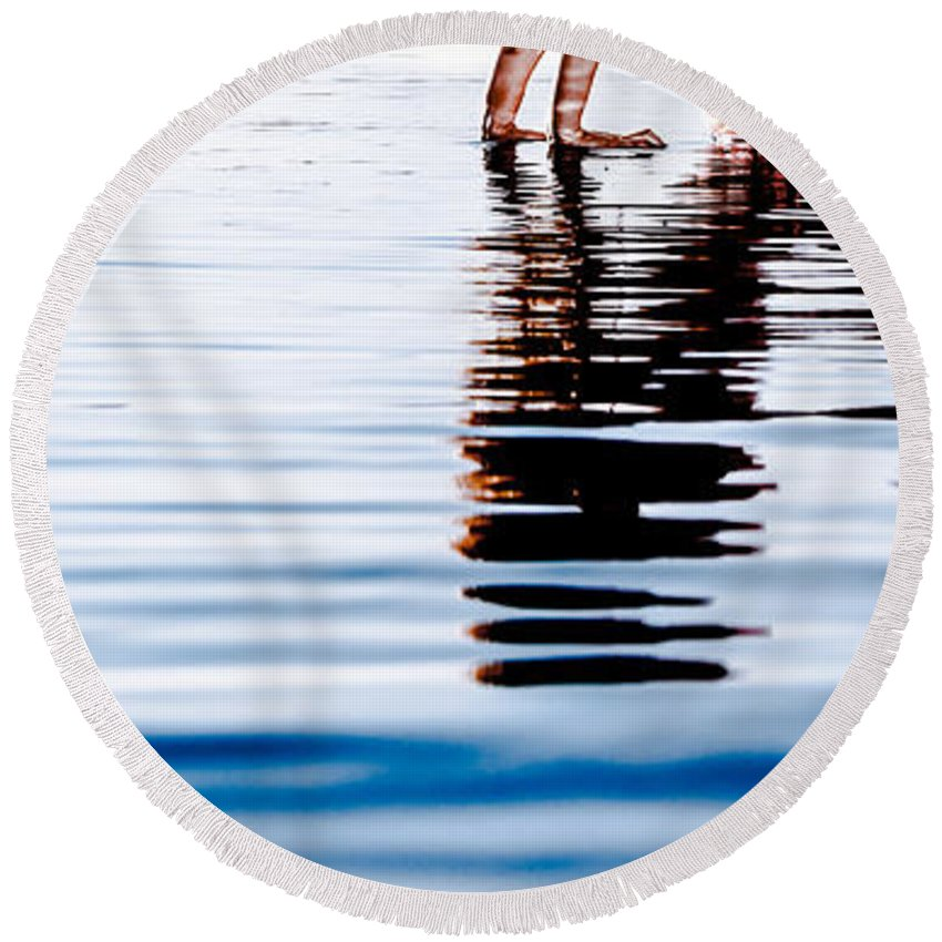 Beautiful Round Beach Towel featuring the photograph Rippled Reflection by Jh Photos