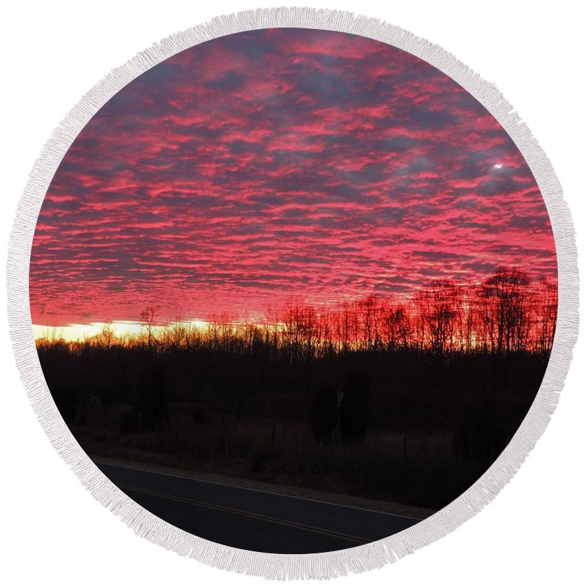 Sunset Round Beach Towel featuring the photograph Ripples Of Elevated Lava by Matt Taylor