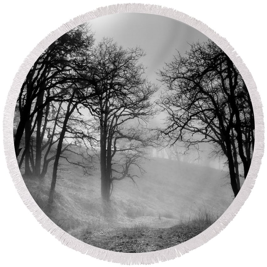 Bald Hills Round Beach Towel featuring the photograph Rising Mists In The Bald Hills by Greg Nyquist