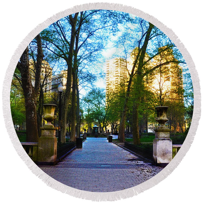 Rittenhouse Round Beach Towel featuring the photograph Rittenhouse Square Park by Bill Cannon
