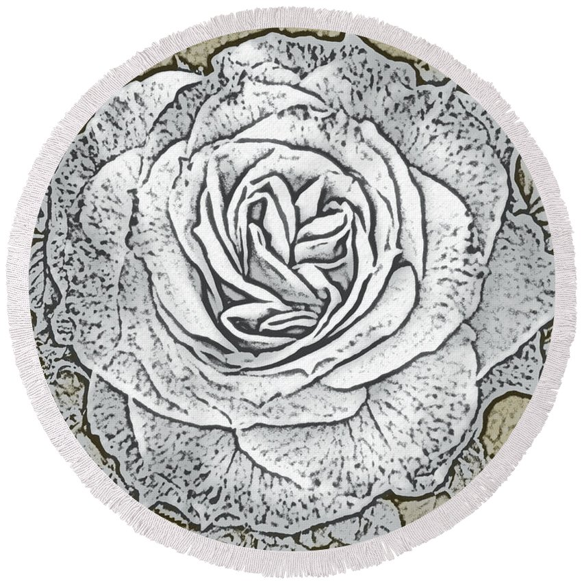 Digital Art Round Beach Towel featuring the photograph Ritzy Rose With Ink And Taupe Background by Conni Schaftenaar