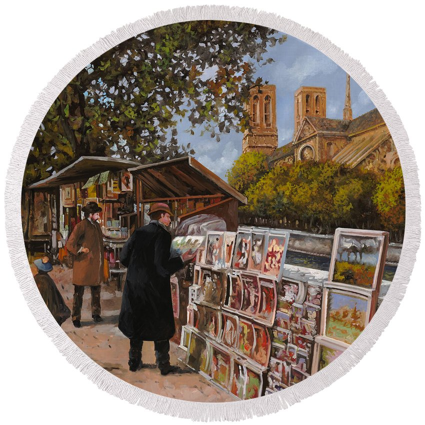 Paris Round Beach Towel featuring the painting Rive Gouche by Guido Borelli