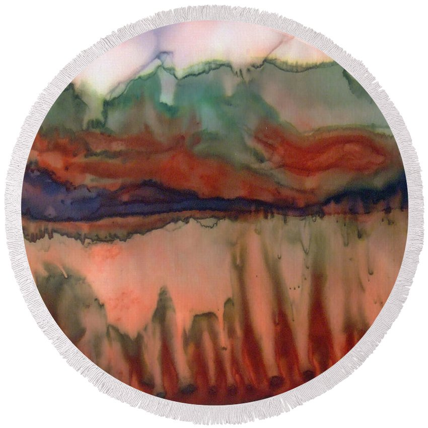 Landscape Round Beach Towel featuring the painting River Aflame by Deborah Younglao