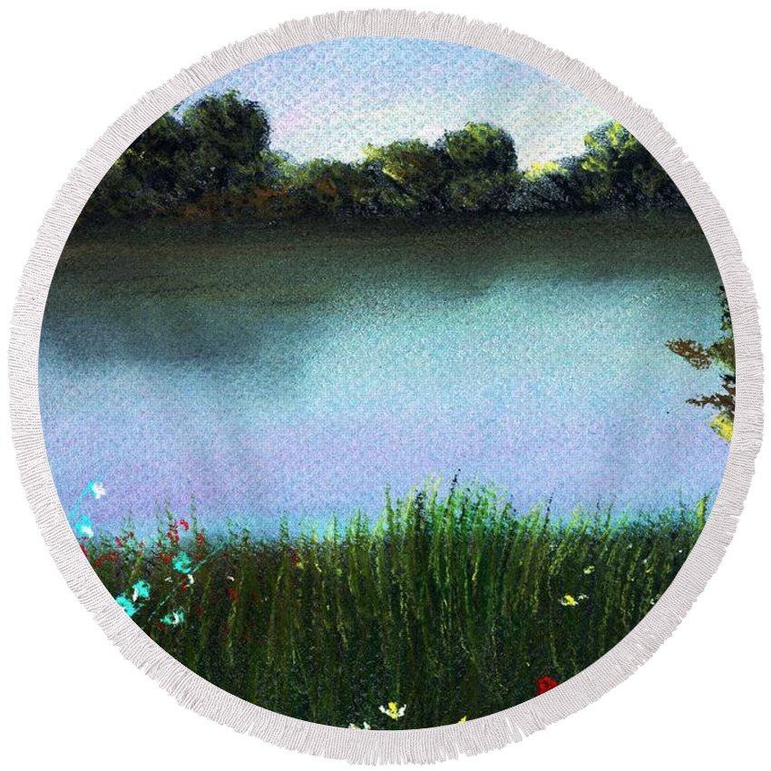 Calm Round Beach Towel featuring the painting River Bank by Anastasiya Malakhova