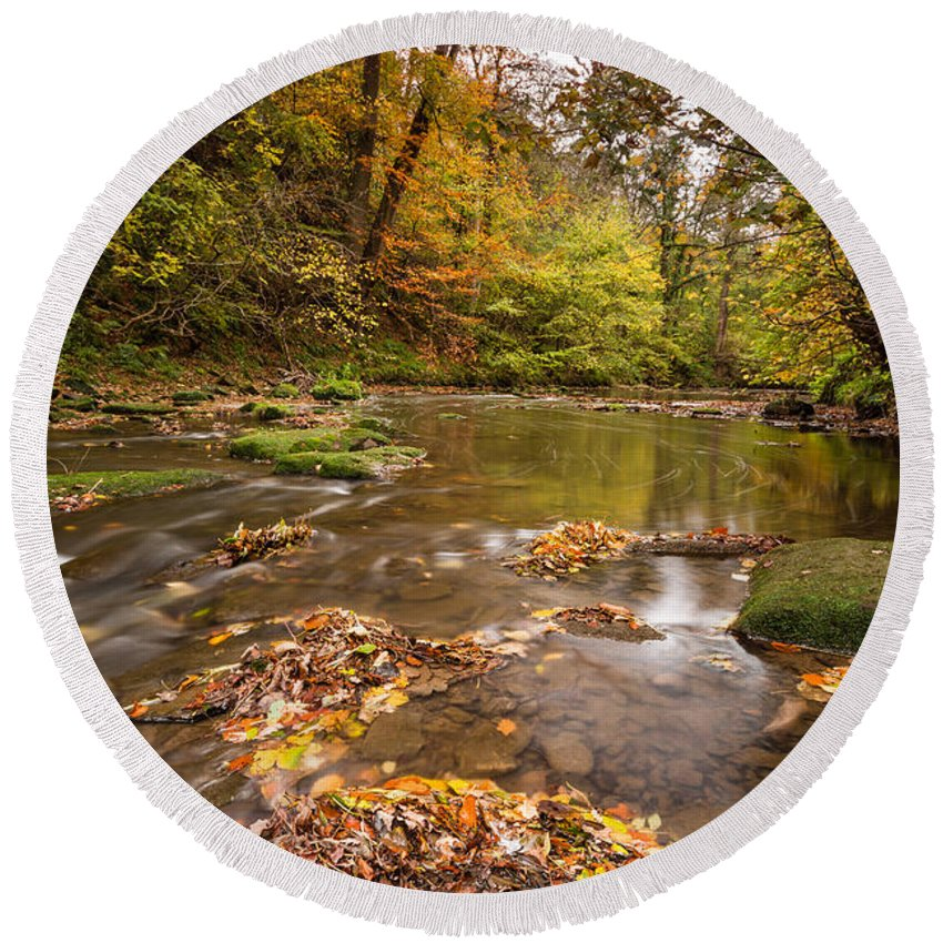 Northumberland Round Beach Towel featuring the photograph River Blyth In Autumn Vertical by David Head