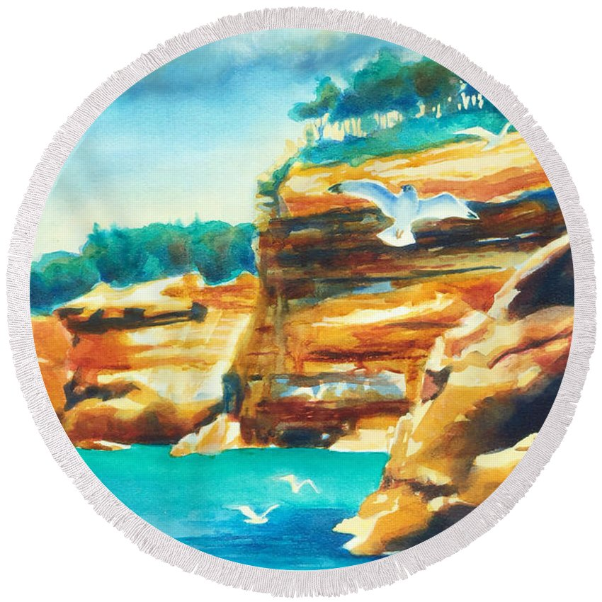 Paintings Round Beach Towel featuring the painting River Cliffs 2 by Kathy Braud