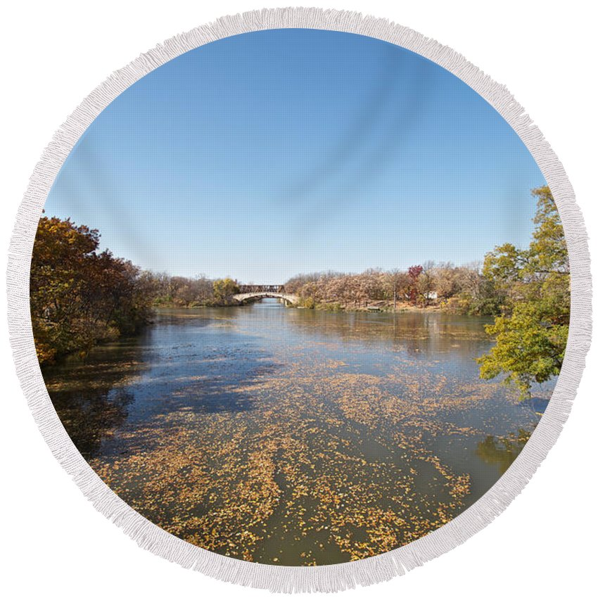 Erie Canal Round Beach Towel featuring the photograph River Crossing by William Norton
