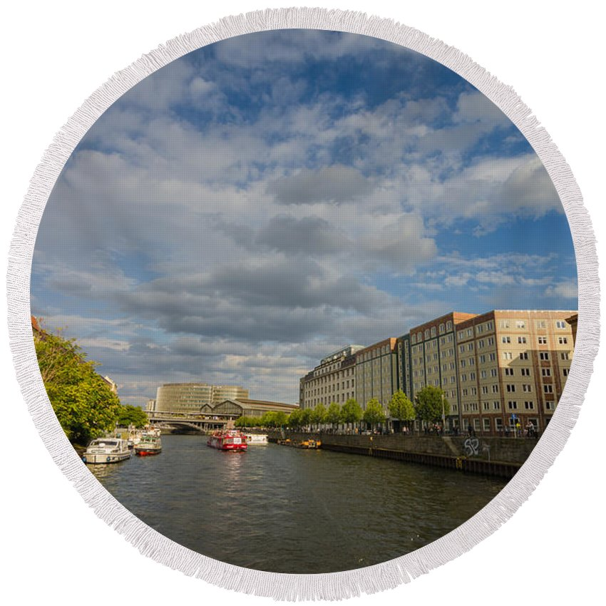 River Cruise Round Beach Towel featuring the photograph River Cruise by Jonah Anderson