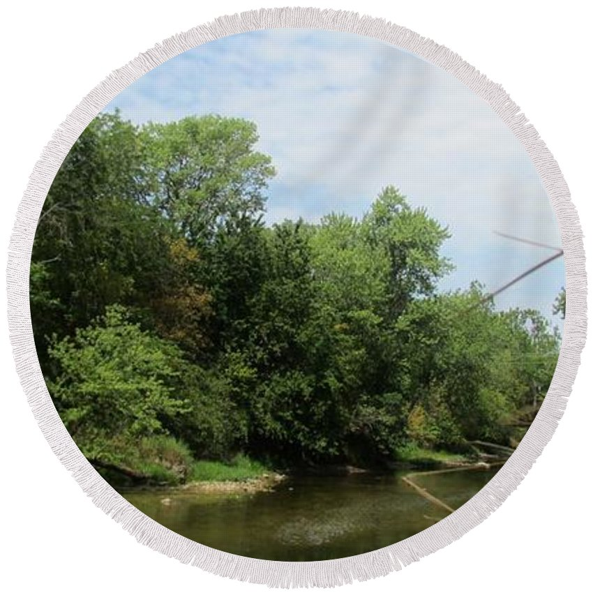 River Round Beach Towel featuring the photograph River by Eric Noa